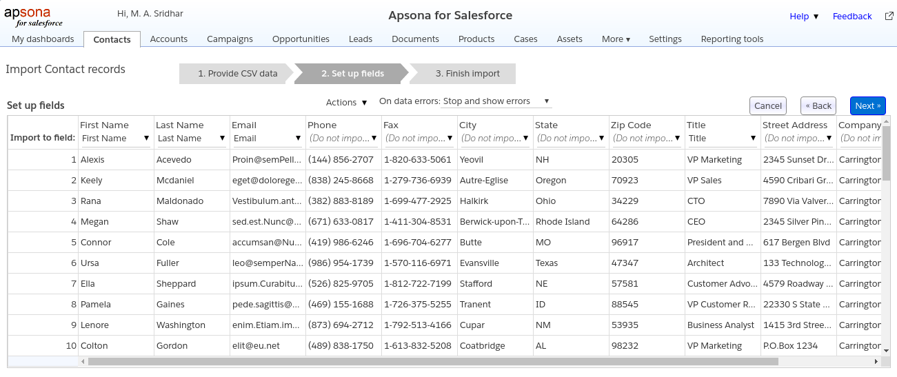 Importing data into Salesforce - Apsona for Salesforce