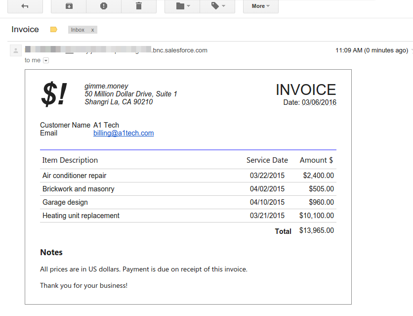 Generating Email Messages Containing Sublists Apsona - Invoice message template