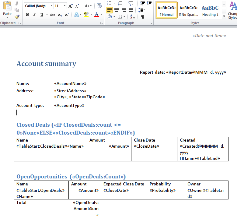 Generating Word and PDF documents