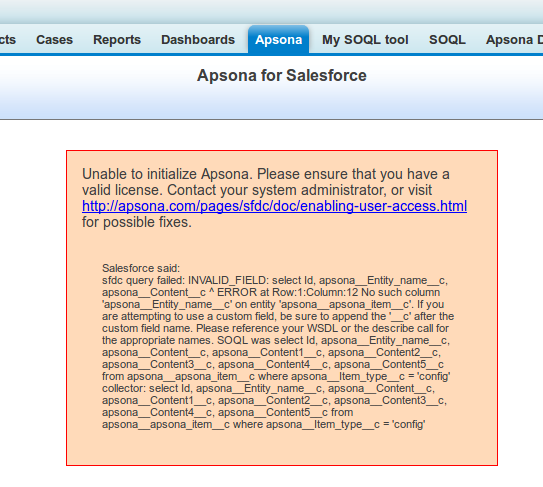 Enabling user access to apsona - apsona for salesforce