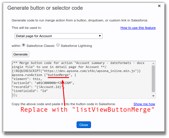 Creating merge buttons - Apsona for Salesforce