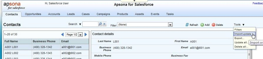 Importing data into multiple salesforce objects - Apsona for
